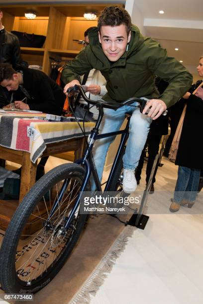 Louis Held attends the opening of the 'Good Wibes Bike Bar' to present the new ebike by Woolrich Deus at the Woolrich Store on April 11 2017 in...