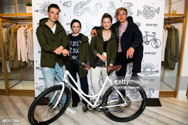 Louis Held Jasna Fritzi Bauer Isabelle Marie Waldbach and Timmi Trinks attend the opening of the 'Good Wibes Bike Bar' to present the new ebike by...