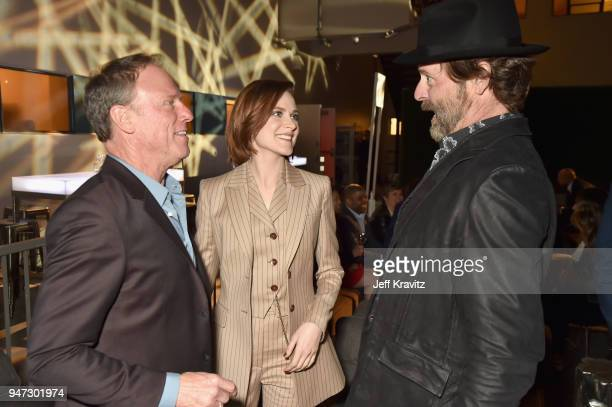 Louis Herthum Evan Rachel Wood and Jeffrey Nordling attend the Los Angeles Season 2 premiere of the HBO Drama Series WESTWORLD at The Cinerama Dome...