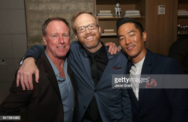 Louis Herthum Ptolemy Slocum and Leonardo Nam attend the Premiere of HBO's Westworld Season 2 After Party on April 16 2018 in Los Angeles California