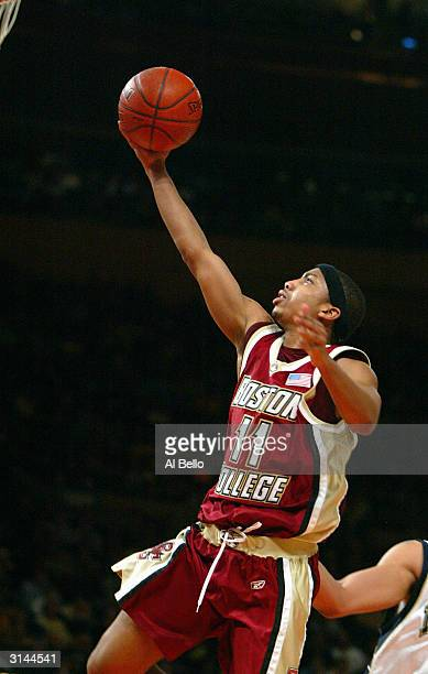 Louis Hinnant of the Boston College Eagles shoots a layup against the University of Pittsburgh Panthers during the Semi Finals of the Big East...
