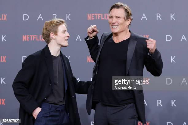 Louis Hofmann and Oliver Masucciattends the premiere of the first German Netflix series 'Dark' at Zoo Palast on November 20 2017 in Berlin Germany