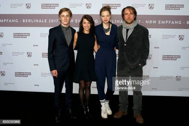 Louis Hofmann Janina Fautz Emma Bading and Bjarne Maedel attend the NRW Reception at the Landesvertretung during the 67th Berlinale International...