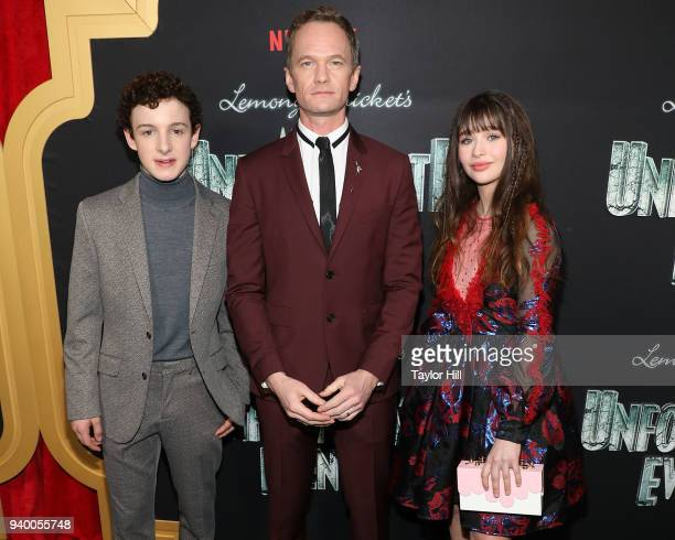 Louis Hynes Neil Patrick Harris and Malina Weissman attend the the Season 2 premiere of Netflix's 'A Series Of Unfortunate Events' at Metrograph on...