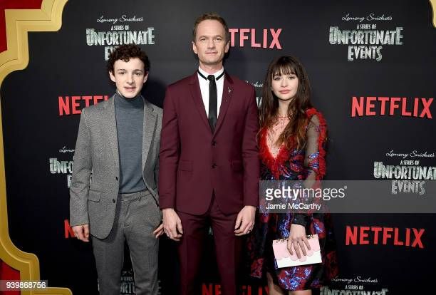Louis HynesNeil Patrick Harris and Malina Weissman attend the A Series Of Unfortunate Events Season 2 Premiere at Metrograph on March 29 2018 in New...