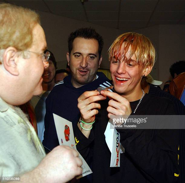 Louis J Pearlman Brian Gillis and Aaron Carter during Planet Hollywood Hosts Aaron Carter's and Angel Carter's 17th Birthday Bash at Planet Hollywood...