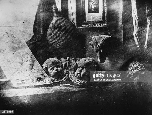 Louis Jacques Daguerre's first surviving daguerreotype image of a collection of plaster casts on a window ledge which he produced on a silver plate