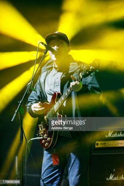 Louis Jones of Spectrals performs on stage on Day 2 of Beacons Festival at Heslaker Farm on August 17 2013 in Skipton England