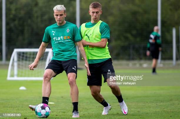 Louis Jordan Beyer and Torben Muesel of Borussia Moenchengladbach in action during the Training Camp of Borussia Moenchengladbach at Klosterpforte on...