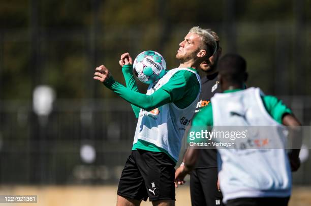 Louis Jordan Beyer in action during a training session of Borussia Moenchengladbach at Borussia-Park on August 05, 2020 in Moenchengladbach, Germany.
