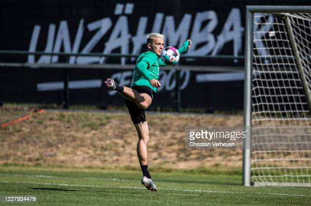 Louis Jordan Beyer in action during a training session of Borussia Moenchengladbach at Borussia-Park on August 06, 2020 in Moenchengladbach, Germany.