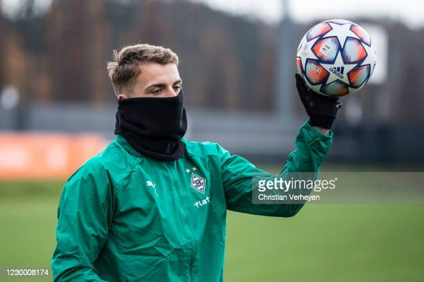 Louis Jordan Beyer is seen during a training session of Borussia Moenchengladbach ahead the Group B - UEFA Champions League match between Real Madrid...