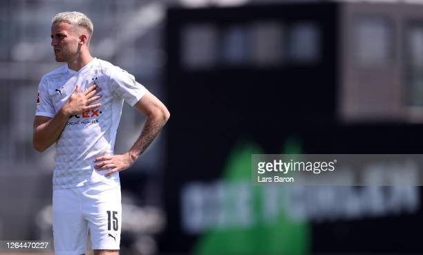 Louis Jordan Beyer is seen prior to the official team picture shooting in front of the Borussia Park on August 07, 2020 in Moenchengladbach, Germany.