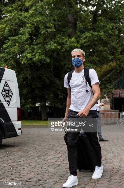 Louis Jordan Beyer of Borussia Moenchengladbach arrives at the Training Camp of Borussia Moenchengladbach at Klosterpforte on August 17, 2020 in...