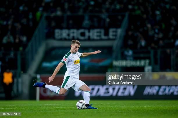 Louis Jordan Beyer of Borussia Moenchengladbach in action during the Bundesliga match between Borussia Moenchengladbach and 1FC Nuernberg at...