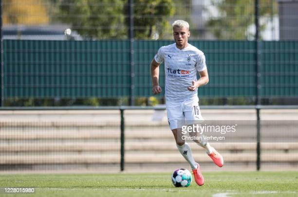 Louis Jordan Beyer of Borussia Moenchengladbach in action during the friendly match between Borussia Moenchengladbach and SC Verl at Borussia-Park on...