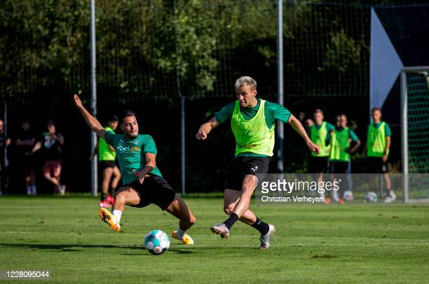 Louis Jordan Beyer of Borussia Moenchengladbach in action during the Training Camp of Borussia Moenchengladbach at Klosterpforte on August 18, 2020...