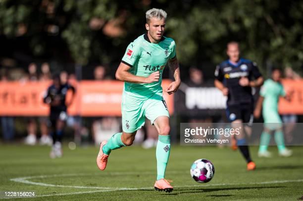 Louis Jordan Beyer of Borussia Moenchengladbach in action during the Preseason Friendly match of Borussia Moenchengladbach and SC Paderborn as part...