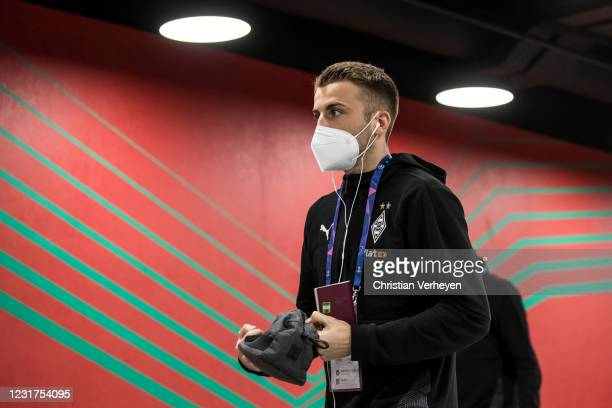 Louis Jordan Beyer of Borussia Moenchengladbach is seen before the UEFA Champions League Round Of 16 Leg Two match between Manchester City and...
