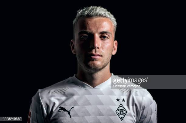 Louis Jordan Beyer of Borussia Moenchengladbach poses during the team presentation at Borussia-Park on August 07, 2020 in Moenchengladbach, Germany.