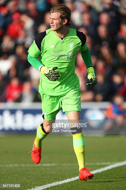 Louis Karius of Liverpool during the PreSeason Friendly match between Fleetwood Town and Liverpool at Highbury Stadium on July 13 2016 in Fleetwood...