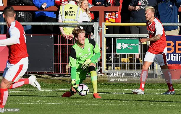 Louis Karius of Liverpool during the PreSeason Friendly match bewteen Fleetwood Town and Liverpool at Highbury Stadium on July 13 2016 in Fleetwood...