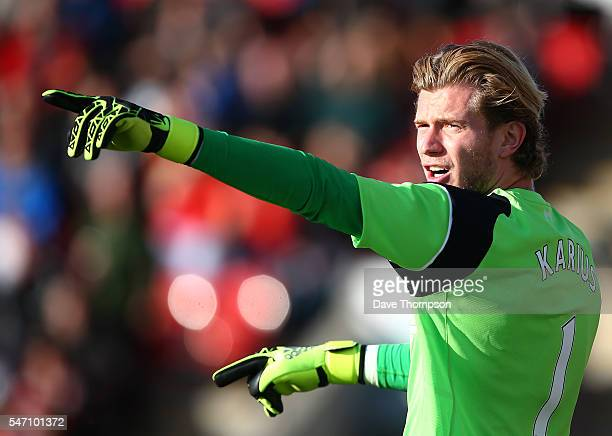 Louis Karius of Liverpool gestures during the PreSeason Friendly match between Fleetwood Town and Liverpool at Highbury Stadium on July 13 2016 in...