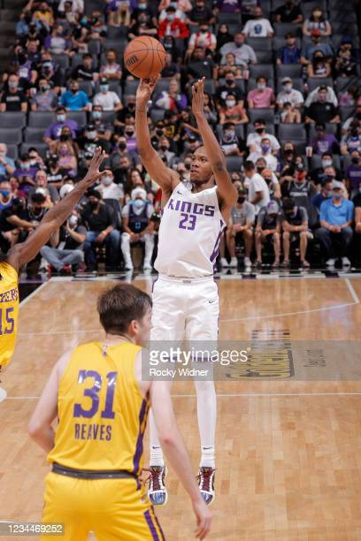 Louis King of the Sacramento Kings shoots the ball against the Los Angeles Lakers during the 2021 California Classic Summer League on August 4, 2021...