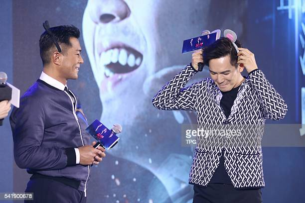 Louis Koo and Wallace Chung attend the premiere of Three on 20th June 2016 in Beijing China