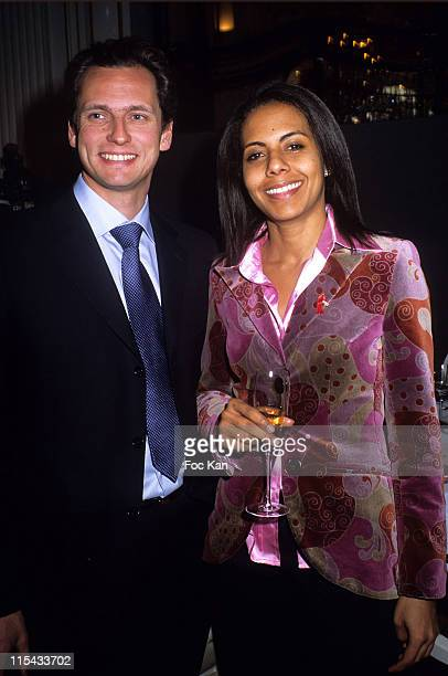 Louis Laforge and Audrey Pulvar during Chateau Pape Clement 700th Vintage Lunch at Plazza Athenee Hotel in Paris France