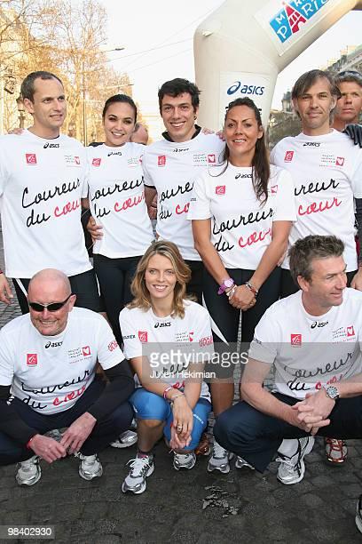 Louis Laforge Valerie Begue Taig Khris Hermine de ClermontTonnerre Paul Belmondo guest Sylvie Tellier and Philippe Caroit pose for the 'Mecenat...