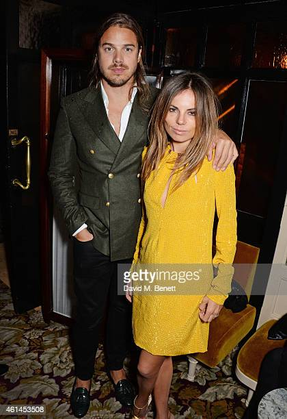 Louis Leeman and Erica Pelosini attend the launch of Tom Ford's new fragrance 'Noir Extreme' at The Chiltern Firehouse on January 12 2015 in London...