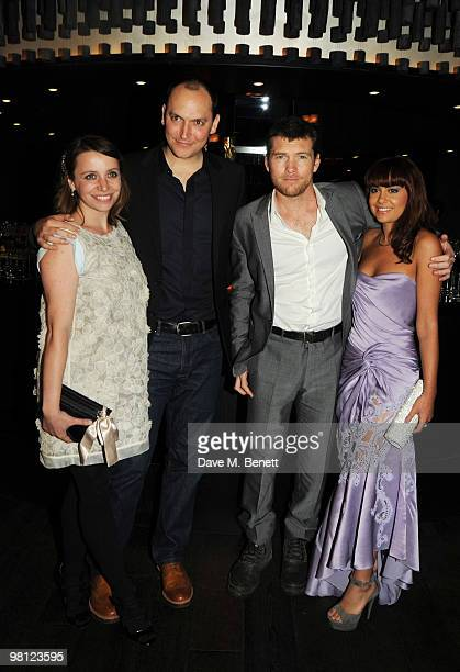 Louis Leterrier Sam Worthington and Natalie Mark attend the afterparty following the World premiere of 'Clash Of The Titans' at Aqua on March 29 2010...