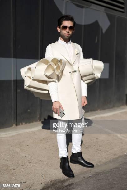 Louis Matthews is seen attending Loris Diran/Bode/Combatant Gentlemen while wearing an Elias Gurrola outfit on February 2 2017 in New York City