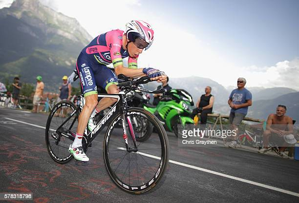 Louis Meintjes of South Africa and Lampre-Merida rides during stage eighteen of the 2016 Le Tour de France, from Sallanches to Megeve on July 21,...