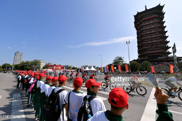 Louis Meintjes of South Africa and Team Dimension Data / Valerio Agnoli of Italy and Team Bahrain - Merida / Antonio Nibali of Italy and Team Bahrain...