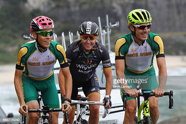 Louis Meintjes of South Africa, Rochelle Gilmore of Australia and Daryl Impey of South Africa ride the road race course in training on August 3, 2016...