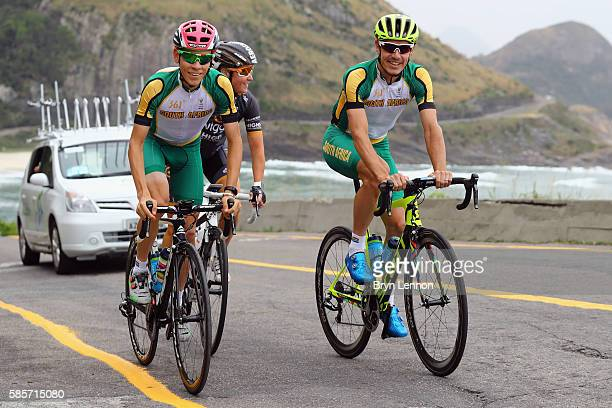 Louis Meintjes of South Africa Rochelle Gilmore of Australia and Daryl Impey of South Africa ride the road race course in training on August 3 2016...