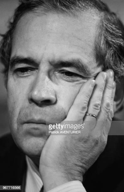 Louis Mermaz Président de l'Assemblée nationale invité de l'émission 'Le Grand Jury' RTL / Le Monde le 29 avril 1984 à Paris France