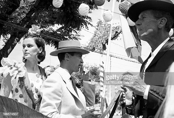 Louis Miguel Dominguín And Lucia Bose At The Feira In Sevilla. En Espagne, lors de la feria de Seville, portrait du toréador Louis Miguel DOMINGUIN,...