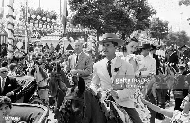 Louis Miguel Dominguín And Lucia Bose At The Feira In Sevilla. En Espagne, lors de la feria de Seville, le toréador Louis Miguel DOMINGUIN, en...