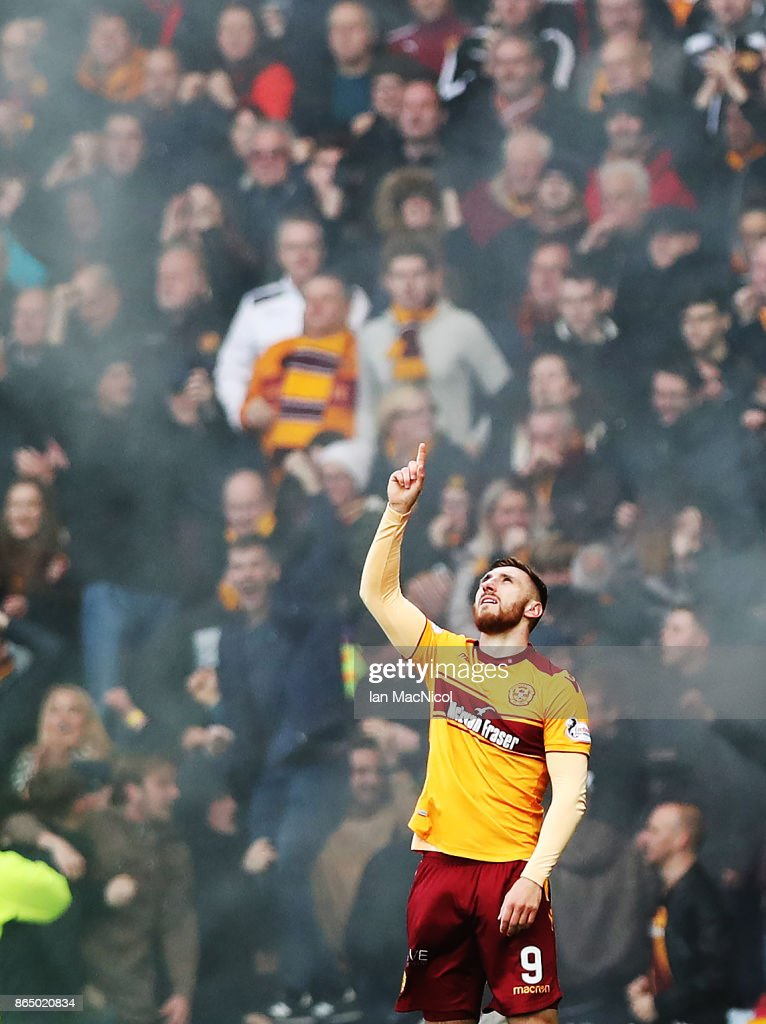 Louis Moult of Motherwell celebrates after he scores the opening goal during the Betfred League Cup Semi Final between Rangers and Motherwell at Hampden Park on October 22, 2017 in Glasgow, Scotland.