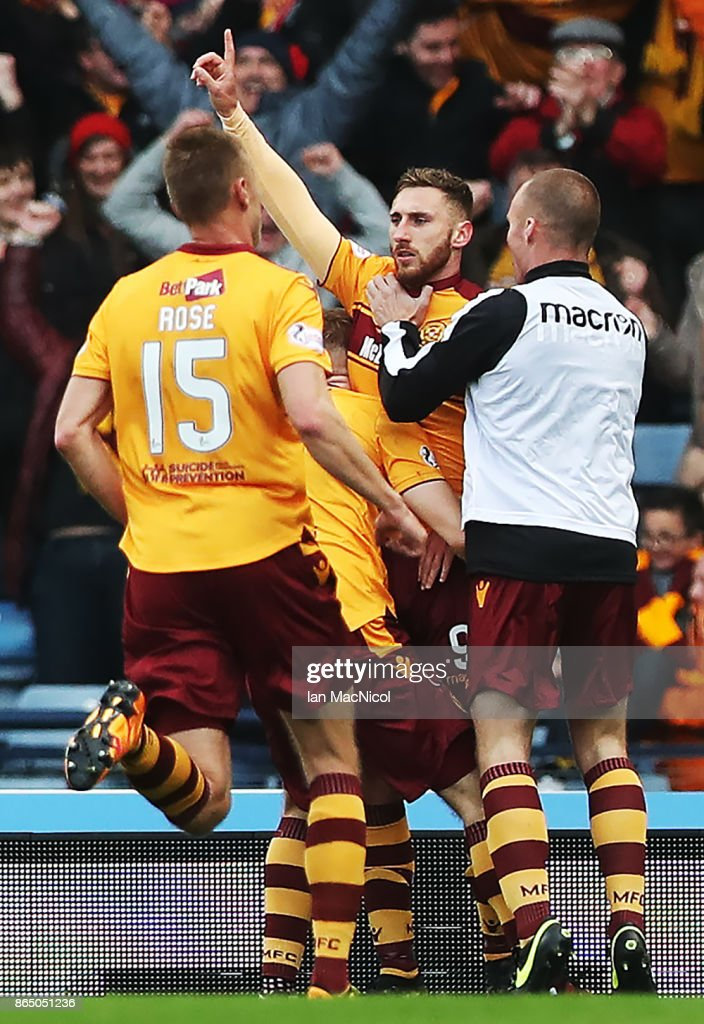 Louis Moult of Motherwell celebrates scoring his second goal during the Betfred League Cup Semi Final between Rangers and Motherwell at Hampden Park on October 22, 2017 in Glasgow, Scotland.