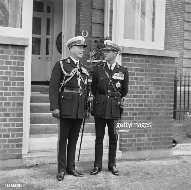 Louis Mountbatten , Earl Mountbatten, and his nephew Prince Philip, the Duke of Edinburgh at a Royal Marines ceremony at Eastney in Hampshire, UK,...