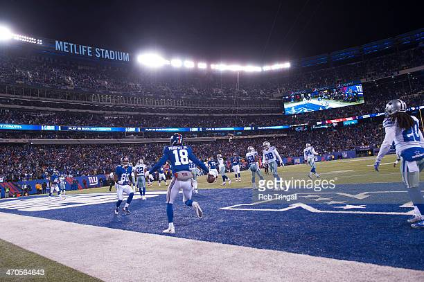 Louis Murphy of the New York Giants shows emotions after scoring a touchdown during the game against the Dallas Cowboys at MetLife Stadium on...