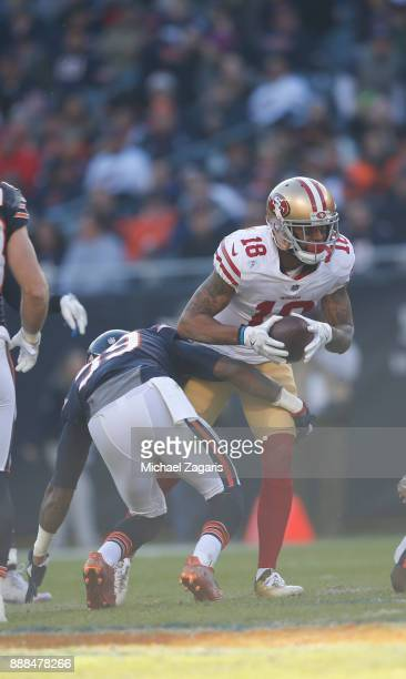 Louis Murphy of the San Francisco 49ers makes a reception for a 16yard gain during the game against the Chicago Bears at Soldier Field on December 3...