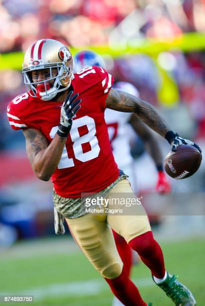 Louis Murphy of the San Francisco 49ers runs after making a reception during the game against the New York Giants at Levi's Stadium on November 12...