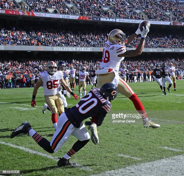 Louis Murphy of the San Francisco 49ers tries to make a catch in front of Prince Amukamara of the Chicago Bears at Soldier Field on December 3 2017...