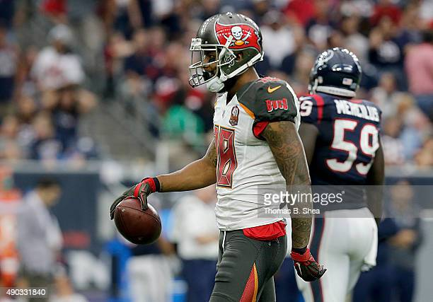 Louis Murphy of the Tampa Bay Buccaneers celebrates a first down against the Houston Texans in the fourth quarter on September 27 2015 at NRG Stadium...