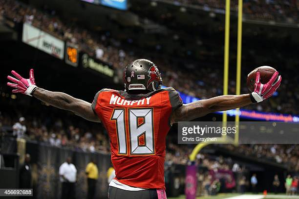 Louis Murphy of the Tampa Bay Buccaneers celebrates a touchdown during the second quarter of a game against the New Orleans Saints at the...